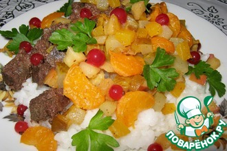 Печень с рисом и фруктами фламбе
