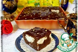 Шоколадный пирог с творожной прослойкой