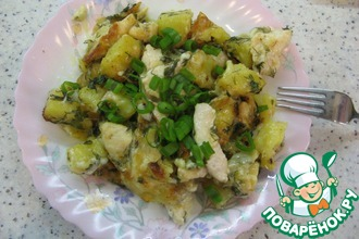 Запеченный сулугуни с картофелем и курицей