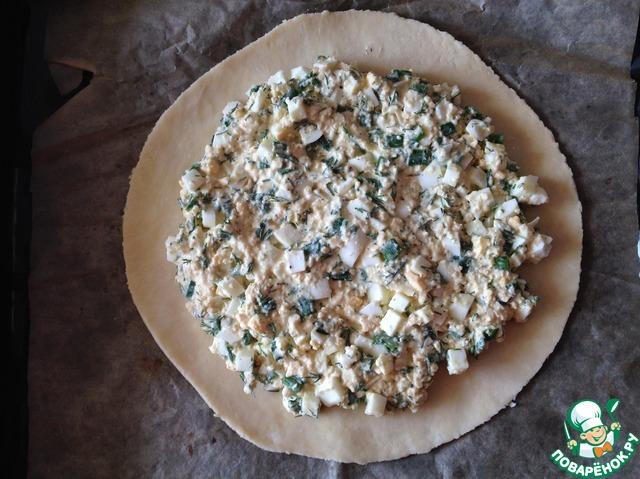 Тесто раскатать толщиной 0.5cм, в центр выложить начинку.