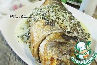 Дорада, фаршированная гречкой с щавелевым соусом