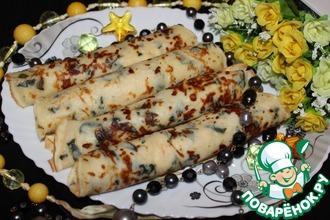 Блины с сыром и шпинатом