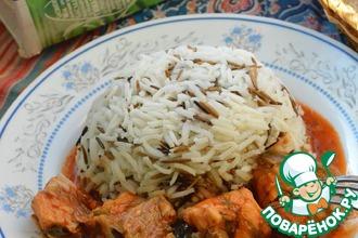 Сом в томатном соусе с рисом