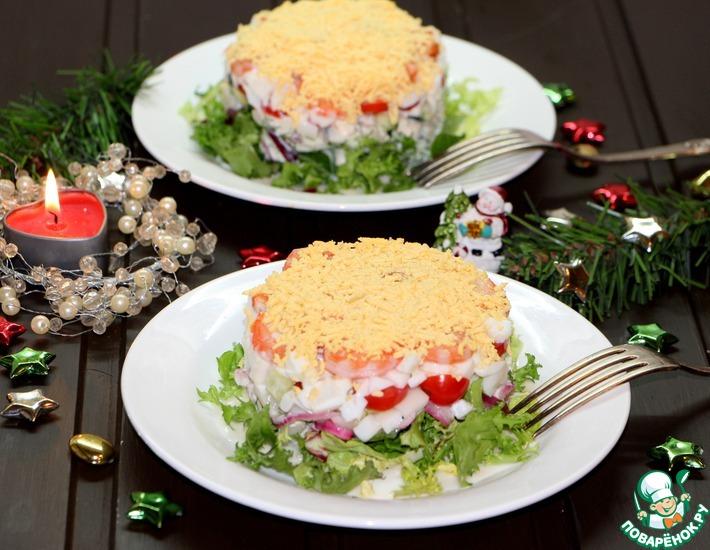 """Салат с кальмаром и овощами """"Новогодний"""""""