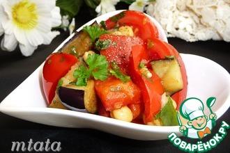 Салат с баклажаном и нутом