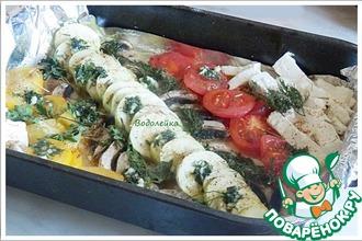Запеченные овощи с брынзой и грибами