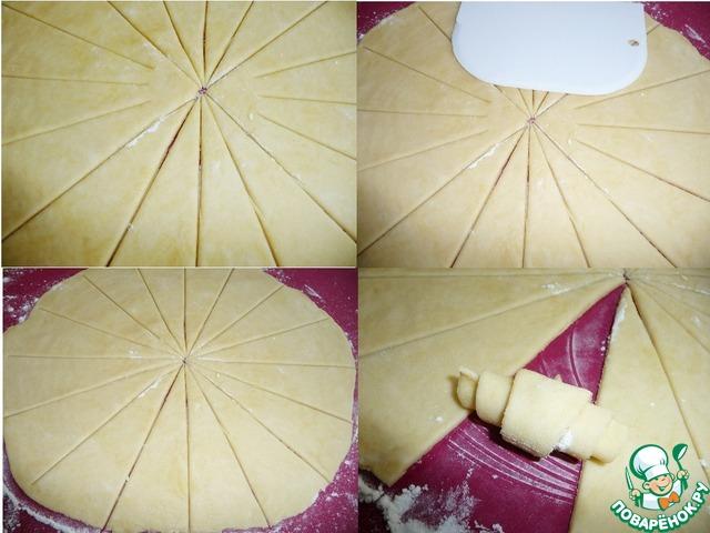Через 40мин. тесто подошло.    Берём один шарик теста из холодильника (остальные ждут своей очереди в холодильнике) и раскатываем его в круг диаметром 28 см, разрезаем на 16 сегментов и сворачиваем каждый в рогалик (рабочую поверхность припыляем мукой).    Сигменты нарезала формой для нарезки тортов, центр дорезала шпателем, прыпыляя его мукой.