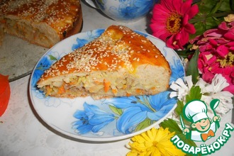 Капустный пирог с кунжутной посыпкой