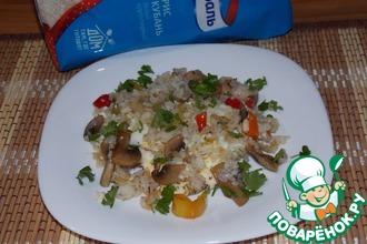 Рис с яйцами, грибами и овощами