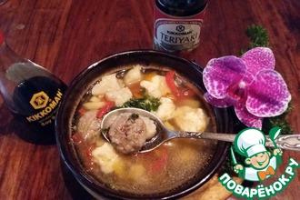 Суп с мясными и сырными фрикадельками