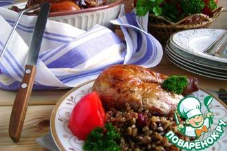 Курица, фаршированная рисом и вяленой вишней