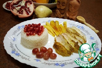 Рис с жареным манго и куриной грудкой