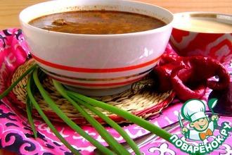 Пряный суп с рисом и чечевицей