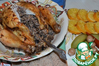 Курица с белыми грибами и гречкой