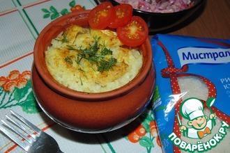 Рис с рыбой в горшочках