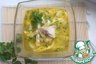 Суп куриный с блинчиками