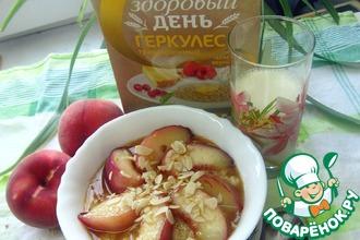 Каша-десерт с карамелизированным персиком