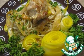 Спагетти с кабачками и курицей