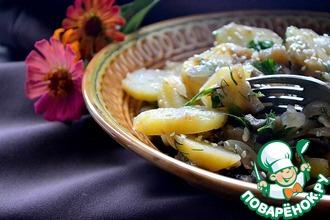 Теплый салат с картофелем и баклажанами