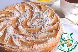 Бисквитный пирог с грушами