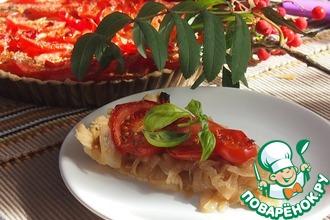 Пирог с луком и помидорами