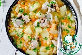 Гороховый суп с копченой скумбрией