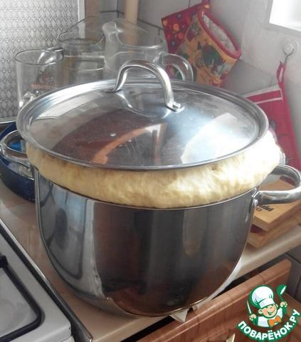 Отправляем тесто подходить на первую расстойку в тёплое место, накрыв полотенцем или крышкой. Тесто увеличилось примерно в 3 раза.