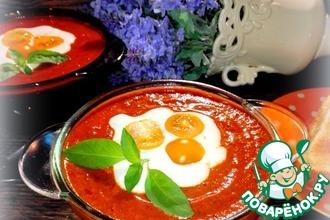 Красный суп-пюре с шампиньонами