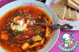 Суп овощной с фасолью