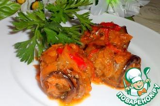 Рулеты из баклажанов с мясом и соусом