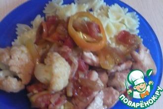 Фарфале с овощами под соевым соусом