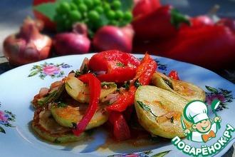 Теплый салат кабачковый