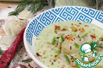 """Луковый крем-суп с пельменями """"Утка мандаринка"""""""