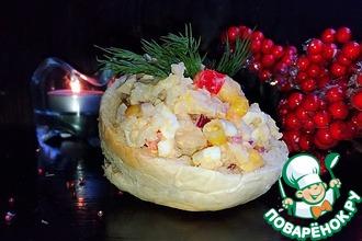 """Кальмаровый салат """"Новогодний"""""""