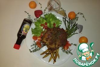 Стейк из свиной шейки, фаршированный овощами