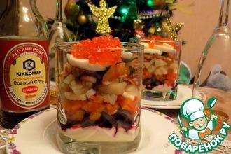 Салат с лососем и красной икрой