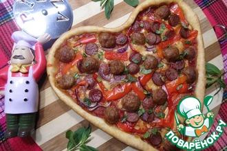 Пицца с фрикадельками и маринованным перцем