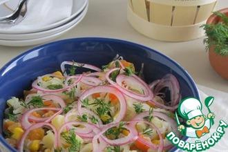 Салат из капусты, овощей и зелени