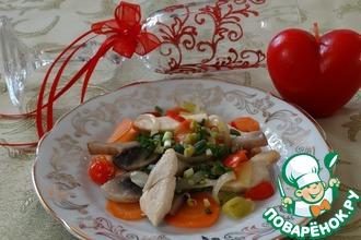 Корейский салат с курицей и грибами