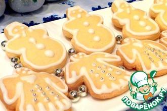 Печенье новогоднее с шоколадной глазурью