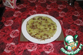 Яичница с луком и грецкими орехами