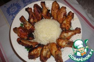 Запеченые крылышки с рисом