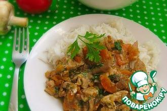 Куриное мясо в морковно-грибном соусе