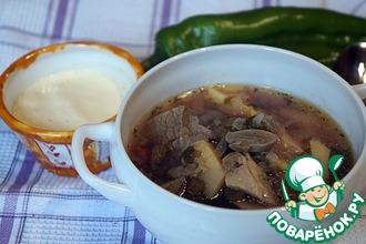Суп овощной с шампиньонами и щавелем