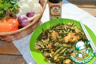 Горячий салат из лука и овощей