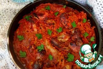 Крылышки с чечевицей в томатном соусе