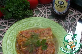 Кабачковая запеканка с мясом и овощами