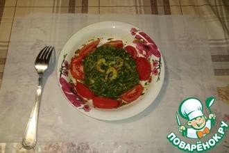 Креветки с фунчозой и шпинатом