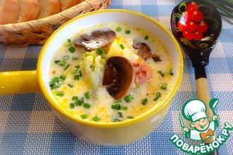 Сырный суп с грибами и овощами