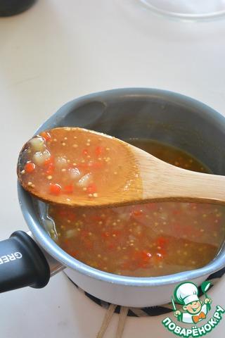 И при помешивании влейте к соусу. Дождитесь пока он загустеет и тут же снимите с огня